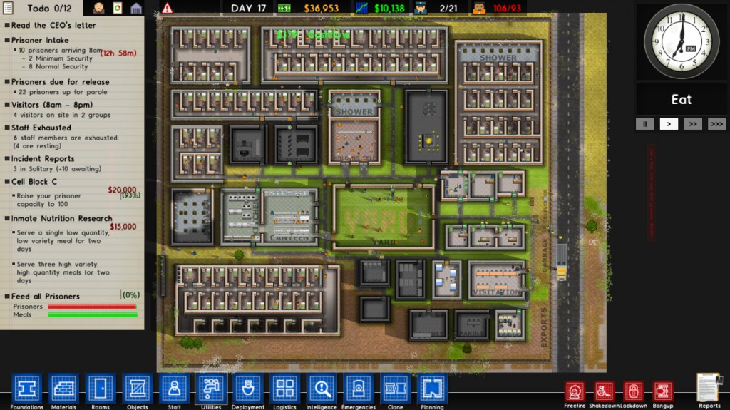 My new prison in the sandbox mode, after a couple of hours.