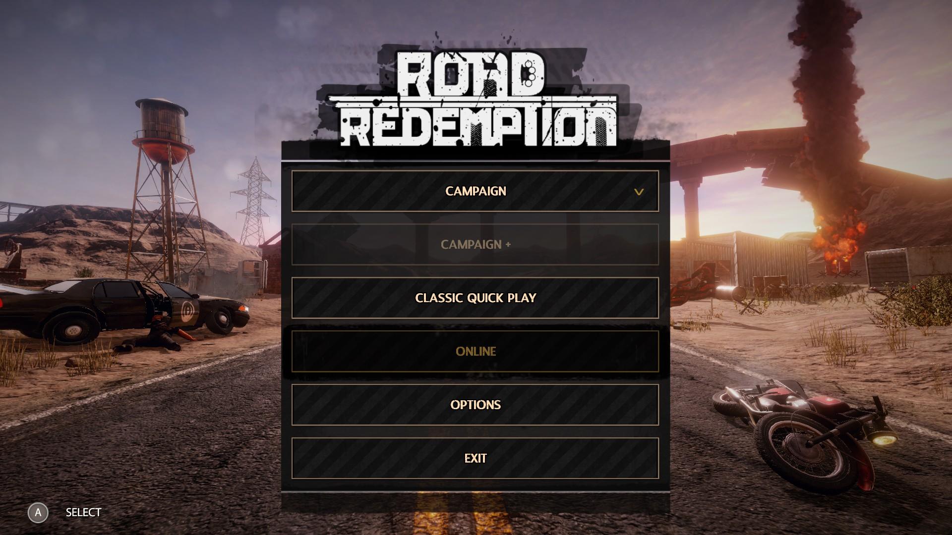 Road Redemption Menu