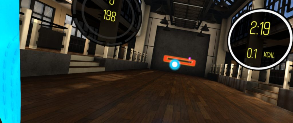 BoxVR. In this workout game, you have to punch the blue and pink balls and duck the orange blocks (by squatting).