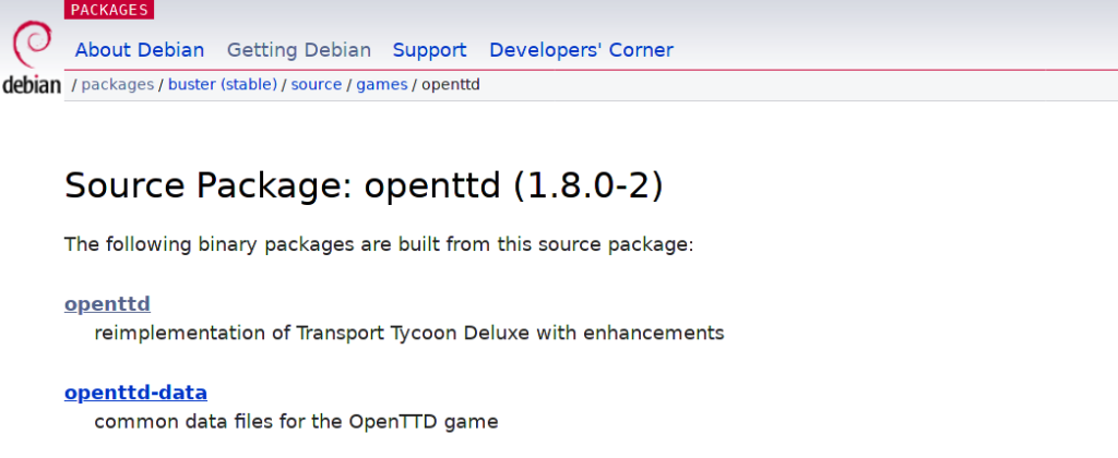 The latest version of OpenTTD on Debian Stable is 1.8