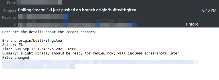 An email alert sent by Jenkins, constantly watching for changes on the Gitea repository