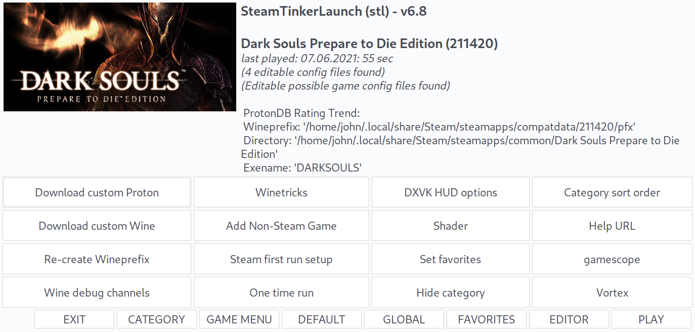 A screenshot of SteamTinkerLaunch stl's main menu where there are buttons for additional menus and dialogs to change settings.