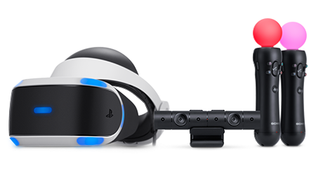 The PSVR headset with the PSMOVE controllers and the camera to detect the position of the controllers. Credits: playstation.com