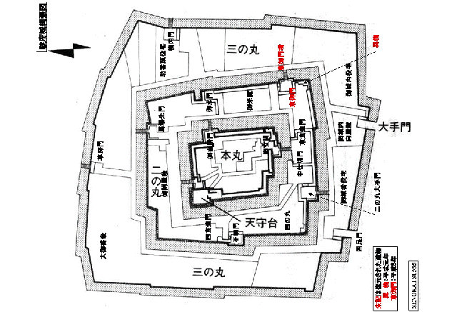Layout of the castle of Sunpu, with multiple canals to prevent intruders from going into the inner limits.