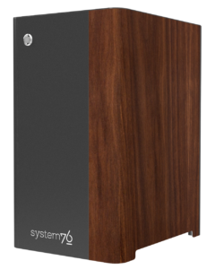 The Thelio Mira desktop from System76, with a walnut finish