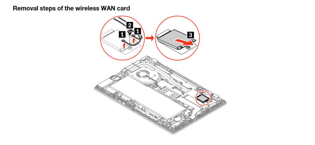 Lenovo Thinkpad: changing a wireless card in a T590 model